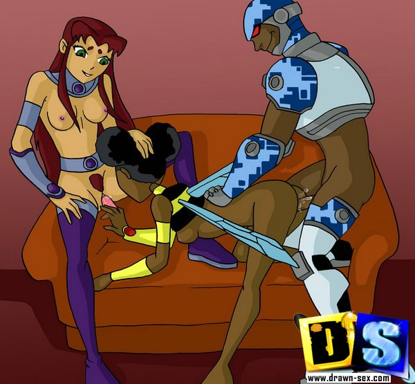 Teen Titans sex orgy in comics - Teen Titans adult party